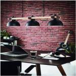 EGLO Lampadario Industriale Lubenham nero in acciaio, D. 0 cm, L. 90.0 cm, 3 luci,