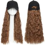 Elailite Extension Capelli Ricci con Cappello Baseball Hat Hair Extensions Sintetiche Donna Posticci Lunghi 45cm Fascia Unica Beretto Attaccato Regolabile - Castano Chiaro