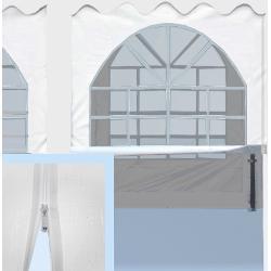 Elemento laterale 2m x 2m con chiusura cerniera lampo in PVC bianco