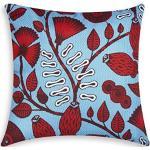 Excelsa Afrika Foglie Cuscino Decorativo, Imbottitura Inclusa, Federa in Cotone, Rosso e Azzurro, 45 x 45 cm
