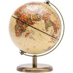 Exerz 14cm Mappamondo Antico - Mappa inglese - Supporto in metallo Colore bronzato - Grande sfera rotante - Decorazione da scrivania educativa/geografica/moderna - per scuola, casa e ufficio