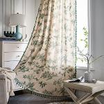 EXQULEG 1 tenda in voile trasparente con nappe beige cotone lino verde piante tenda con occhielli tenda per finestra decorazione (220 x 150 cm (A x L)