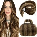 Extension Capelli Veri Biadesive, LaaVoo Seamless Tape in Hair Extensions Adesive Human Hair 20 Pollici Great Length Capelli Lisci Balayage Marrone Scuro e Bionda Caramellata 50g 20 Pcs/Pack