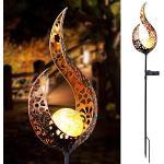 Flower Solar Lights Garden Outdoor, moderna lampada a fiamma solida, luci decorative a LED in metallo impermeabile per passerella, cortile, prato, patio