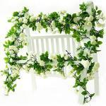 Ghirlanda/rampicante artificiale di rose, con foglie verdi, da 160 cm, decorazione per la casa e nuziale, confezione da 3 White