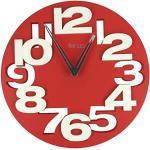 GMMH 3 D - Orologio di Design da Parete 8808 per Cucina Bagno Ufficio Silenzioso (Rosso Bianco)