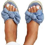 Sandali estivi larghezza E casual blu con punta aperta antiscivolo per l'estate per Donna