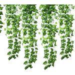 Gofriend, edera artificiale decorativa con foglie verdi, finta pianta rampicante; per matrimonio, giardino, decorazione da parete, 12 fili, 25 metri