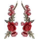 Healifty 1Pair Red Rose Flower Clothes Ricamo Patch Floral Collare Sew Patch Iron on Patches per i Vestiti da Cucire