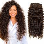 Parrucche marrone scuro naturali per capelli ricci