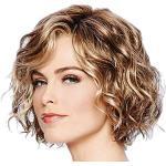 HNKK Parrucca da donna corta e riccia mista soffice copricapo COS parruccacolore dell'immagine