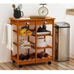 HomCom Carrello da Cucina Multiuso in Legno di Pino con 4 Ruote e Cassetti 74x37x75cm, Marrone Chiaro