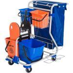 Homcom Carrello Pulizie Professionale con 4 Secchi 18L/6L Blu e Arancione