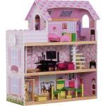 Homcom Casa delle Bambole a 3 Piani con Ascensore Rosa 60x30x71.5cm