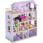 HomCom Casa delle Bambole a 4 Piani in Legno con Accessori, Rosa, 60x30x80cm