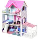 HOMCOM Casa delle Bambole in Legno per Bambini 3+ Anni con 12 Accessori Rosa