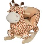 Homcom Dondolo in Legno Giraffa per Bambini in Morbido Peluche con Suoni