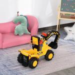 Homcom Escavatore Giocattolo per Bambini con Braccio Mobile Canestro e Palline Colorate Giallo e Nero
