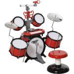 HOMCOM Set Batteria Giocattolo con Molti Effetti Sonori e Microfono per Bambini Rosso