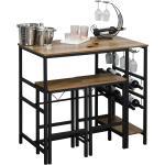 Homcom Set Tavolo con 2 Sgabelli Alti da Bar Portabottiglie e Portabicchieri in Stile Industriale