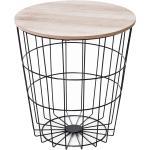 Homcom Tavolino Contenitore Rotondo in Legno e Metallo Nero Φ39.5x43cm