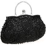 HONGCI - Pochette da donna con paillettes e perline glitterate, stile vintage, da sera, da sposa, pochette per matrimoni, feste, HC-5-wanlibao-black