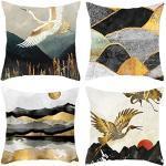 HOSTECCO - Set di 4 federe decorative per cuscino astratto, motivo paesaggistico, colore: oro e nero, 40 x 40 cm