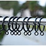 HshDUti - Anelli per tende e aste in metallo, per tende e tende, 28 mm, 38 mm, diametro interno 28 mm, colore: Nero