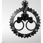 HXSD Orologio da Parete con Ingranaggi Mobili 3D, Orologio da Parete Industriale Silenzioso con Ingranaggi Meccanici di Grandi Dimensioni Orologi Decorativi da Soggiorno,Nero