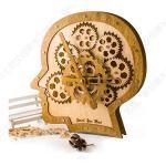 HXSD Orologio da Parete Meravigliosa Cervello di Modello Meccanico Ingranaggi Dynamic Design, Premium in Legno e Metallo Cervello Opere