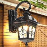 iacon Lampada a parete per esterni in ferro battuto retro impermeabile luci lampada a muro casa di campagna navata corridoio esterno veranda giardino balcone scala casa esterno lampada da parete