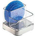 InterDesign Forma Organizer cucina, Portaspugne in plastica e metallo di piccole dimensioni, trasparente/argento