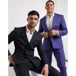 Jack & Jones Premium - Giacca da abito doppiopetto blu navy gessato