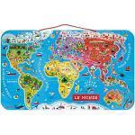 Janod - Il Mondo Magnetico Puzzle di Legno, 92 Pezzi, Versione Francese Colore Multicolore, J05500