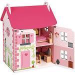 Janod - Mademoiselle Casa Delle Bambole (Legno), 3 Piani e 11 Accessori Inclusi, Giocattolo Di Imitazione, per Sviluppare L'Immaginazione - Da 3 Anni in su, J06581