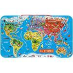 Janod- Puzzle di Legno Il Mondo Magnetico, 92 Pezzi, Versione Spagnola, J05503