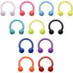 JFORYOU 10 PCS Colorful Bioflex Material Horseshoe Nose Septum Hoop 16G Ear Helix Tragus Cartilage Lip Eyebrow Retainer Piercing Jewellery