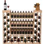 JIU Portabottiglie in Legno massello Espositore da Terra in Vetro Multistrato Europeo da Salotto Bar da Salotto TKV Scaffale da Vino per Bottiglie di Vino (Colore : Colore del Legno)