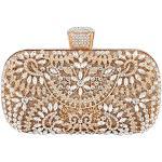 JOEupin, borsa da sera da donna, con perline e strass, Oro, Medium