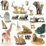 """Jomoval RMK1130SCS -Adesivi murali riutilizzabili""""Safari"""" (animali della savana)"""