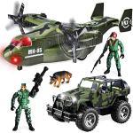 JOYIN Set giocattoli veicoli militari di Aereo trasporto e Camion militare a frizione con luci e suoni Figure di azione da collezione soldati per bambini