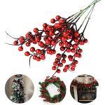 Jycra Bacche rosse natalizie artificiali di, confezione da 10 rami di fiori di agrifoglio bacche di frutta finta per albero di Natale Decorazioni per feste - 26 cm