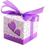 JZK 50 Viola cuore scatola portaconfetti scatolina bomboniera segnaposto portariso per matrimonio compleanno battesimo Natale nascita laurea comunione
