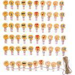 JZK 60 x Emoji mollette legno piccole con spago iuta, mini mollettine bucato decorative per foto clip portafoto da parete segnaposto bomboniere