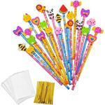 JZK Set 24 matita in legno con gomma matite grafite con gomme bomboniera regalino per festa bambini compleanno battesimo comunione regalo compleanno regalo Natale per bambina bambino