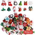 Kalolary Ornamenti natalizi in miniatura, 50 Pezzi Resina Mini Decorazioni Natalizie, Decorazione in Resina con Campana Dell'albero del Pupazzo di Neve di Babbo Natale per Artigianato Fai Da Te