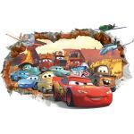 Kibi Adesivo 3D Da Parete Di Arte Auto Del Fumetto PVC Parete Rotto Adesivi Muro Cars Disney Per Camera Dei Bambini , Soggiorno , Camera Da Letto ,Decorazione Casa , Stickers Murali Cars Rimovibili