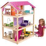 KidKraft 65078 Casa delle bambole in legno So Chic per bambole di 30 cm con 46 accessori inclusi e 3 livelli di gioco