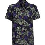 King Kerosin Dark Flowers, camicia a manica corta S male Nero/Blu Scuro/Verde Scuro