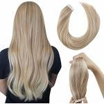 LaaVoo 20 Pollice/50cm 100% Remy Human Hair Extensions Tape in Extensions #P18/613 Balayage Dark Ash Blonde with Bleach Blonde 20 Fasce 50g Glue in Seamless Hair